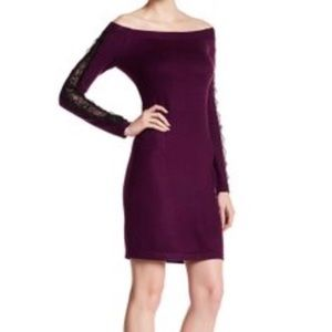 Cynthia Steffe Purple Bodycon Dress with Lace NWT
